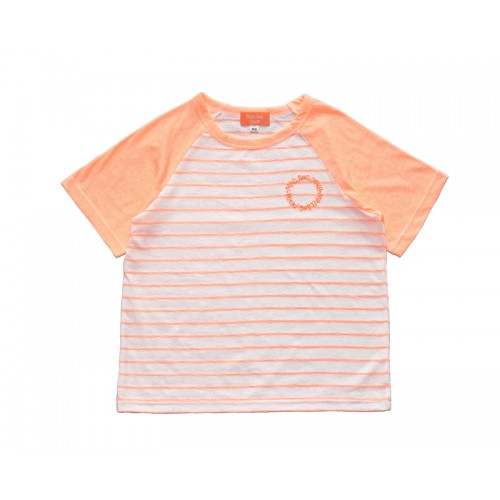 SUMMER LOGO STRIPE T-SHIRT (NEON ORANGE) - 50% 할인