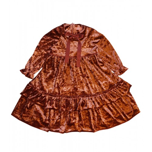 VELVET PRINCESS DRESS (BROWN)