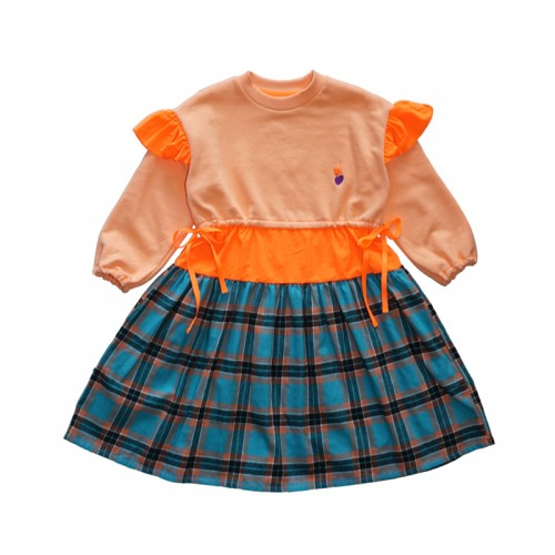 PATCHED CHECK DRESS (ORANGE)