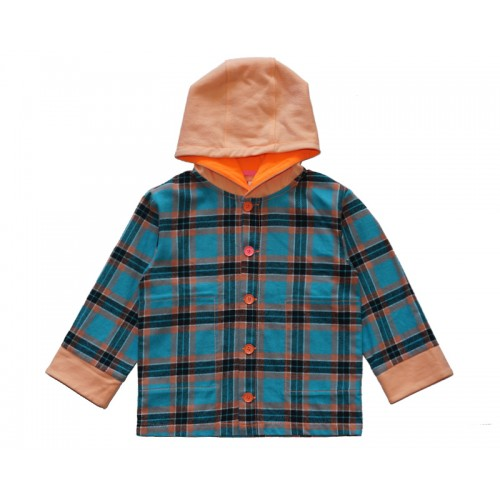 HOODY CHECK SHIRT (ORANGE) - 20% 할인